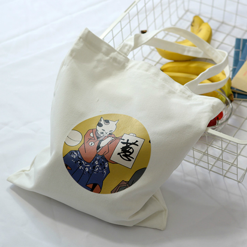 Women's Canvas Bag Cartoon Cat Cloth Shopping Bags Female Large Capacity Shoulder Tote Bag Eco Reusable Shopper Ladies Handbags
