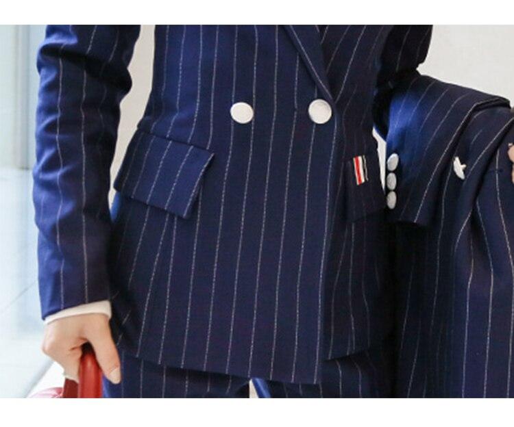 Femmes Printemps Casual Ol Mince De Pantalon Veste 2 Tempérament Ensemble 1 Et 2019 Deux Costume Automne Rayé Mode Nouvelle pièce Femelle Vêtements qwBTAUv