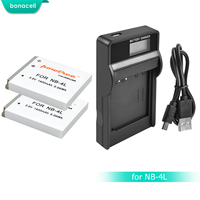 Bonacell 1400mAh NB-4L NB4L 4L NB Bateria Bateria + Carregador para Canon IXUS LCD 30 40 50 55 60 65 80 100 PowerShot SD1000 1100 L10