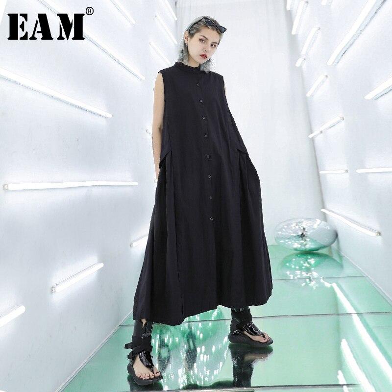 [EAM] 2019 New Spring Summer Round Neck Sleeveless Black Pleated Split Joint Loose Temperament Dress Women Fashion TideJU057