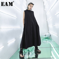 [EAM] 2019 New Spring Summer Round Neck Sleeveless Black Pleated Split Joint Loose Temperament Dress Women Fashion TideJU057