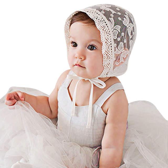 83e480cff Lace Flower Baby Bonnet Newborn Beanie Hats Spring Summer Lovely Princess  Hat Caps Cotton Lace Floral Kids Baby Girls Caps White