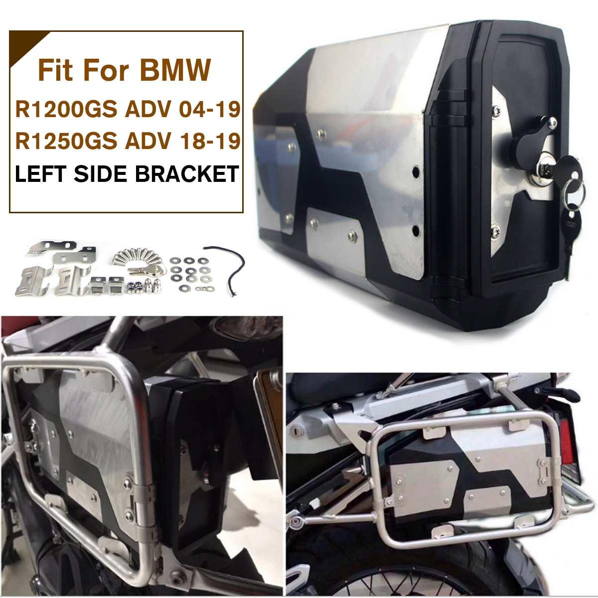 Boîte à outils de moto boîte en acier inoxydable 4.2L pour BMW R1200GS LC aventure support latéral gauche 2004-2018 boîte en acier inoxydable