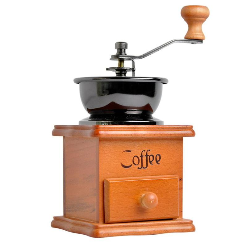 High-quality  Manual Coffee Bean Grinder Retro Wooden Manual Coffee Machine Hand Cranked Ceramic Coffee Bean Grinder