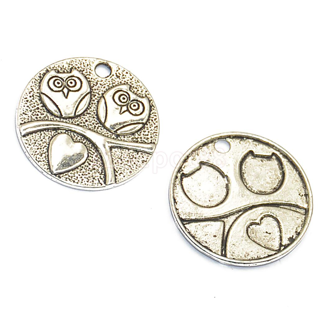 12pcs Silver Round Plate Owl Charms Pendants Jewelry Making