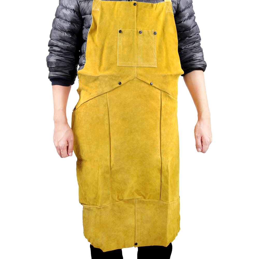 Safety Clothing 3 Colors Clothing Fire Safety Apron Leather Safurance Welders Bib Blacksmith Apron Workplace Self Protect Heat Resistant Aprons Soft And Light Workplace Safety Supplies