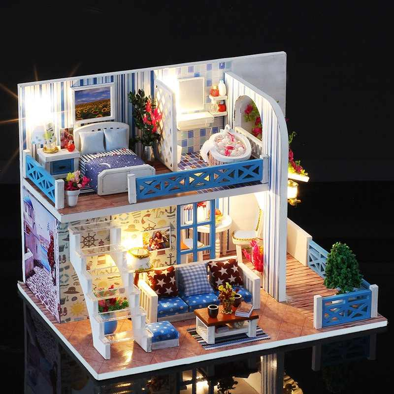 Kids Baby Handmade Doll House Furniture Kit DIY Mini Dollhouse Wooden Toy for Children Birthday Gifts Hut Villa Assembly Model