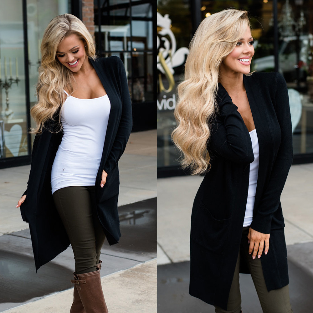 Fashion Women Long Cardigan With Pocket Black Sweater Casual Cardigans Coat Streetwear