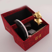 Fashion Top Quality Chinese Style Blessing Pig Personality 24 Karat Gold Plated Alloy Seal Stamp With Gift Box for New Year