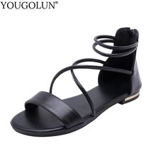 YOUGOLUN Women Flat Sandals Summer Cross Strap Open Toe Casual Shoes White Beige Black Champagne Ankle Strap Zipper Sandal A027(China)
