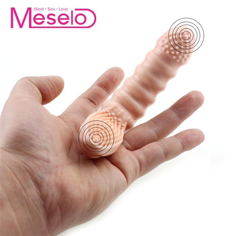 Meselo <font><b>10</b></font> Speeds Finger Vibrator <font><b>Sex</b></font> Toys For Woman Clitoris Stimulator Brush Vibrating Finger Sleeve Particles G-spot Vibrator image