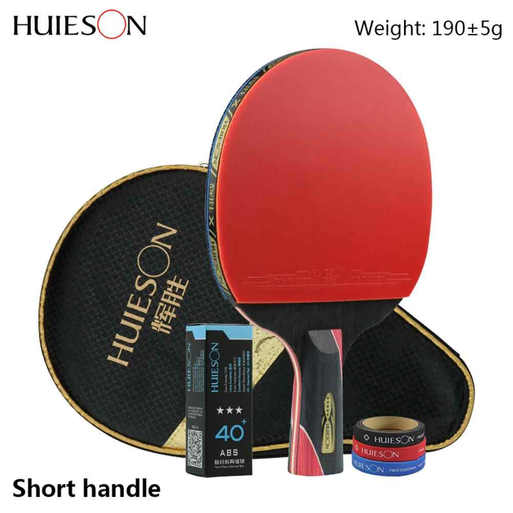 1 Piece Huieson 5 Star Black & Red Carbon Fiber Table Tennis Racket Double Pimples-in Rubber Pingpong Racket for Teenager Player