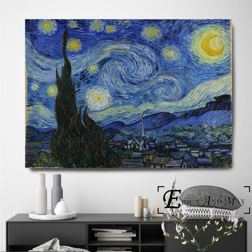 Van Gogh Starry Night Series Artwork Canvas Painting Posters And Prints For Living Room No Framed Wall Art Picture Home Decor in Painting Calligraphy from Home Garden