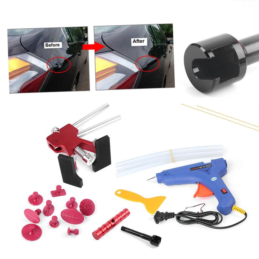 Car Auto Paitless Dent Puller Lifter Body Blue Glue Gun T Bar Repair Removal Tool Kit