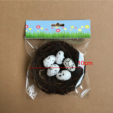 Handmade Vine Bird Twig Nest House Home Decoration Craft Photo Prop Ornament Set(China)