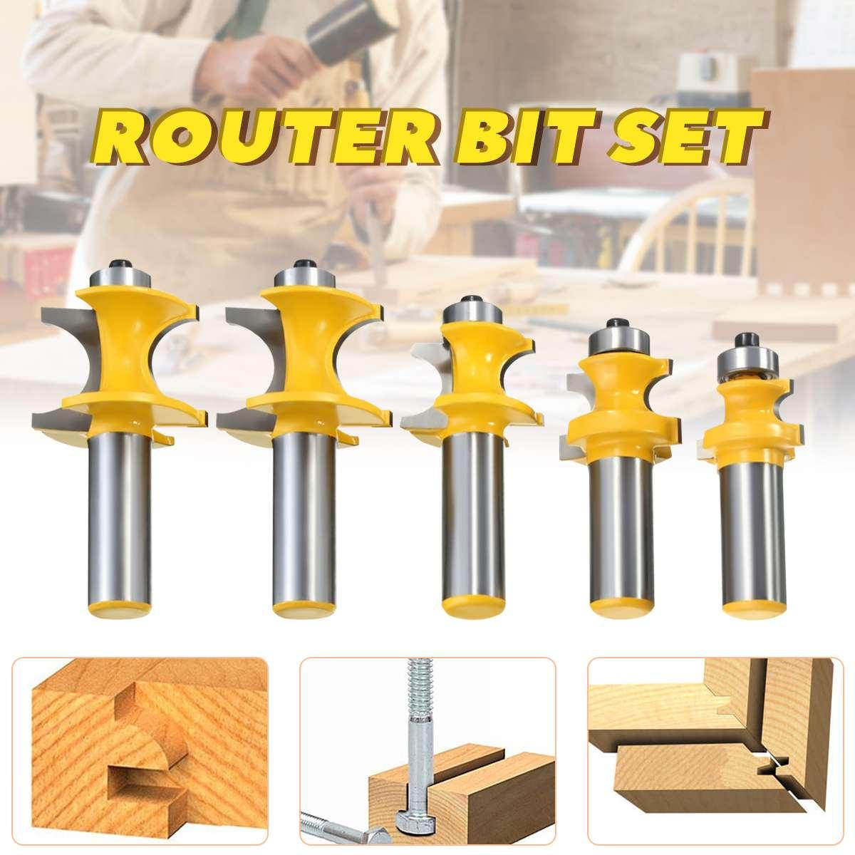 5Pcs Bullnose Bead Column Face Molding Router Bit 1/2 Shank Woodworking Milling Cutter5Pcs Bullnose Bead Column Face Molding Router Bit 1/2 Shank Woodworking Milling Cutter