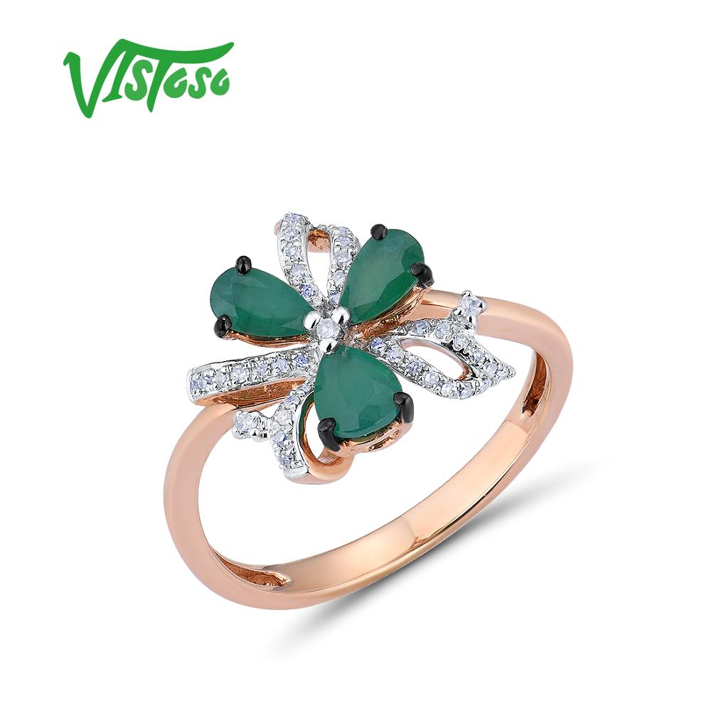VISTOSO 14K 585 Rose Gold Ring For Women Magic Emerald Sparkling Diamond Engagement Anniversary Elegant Shining