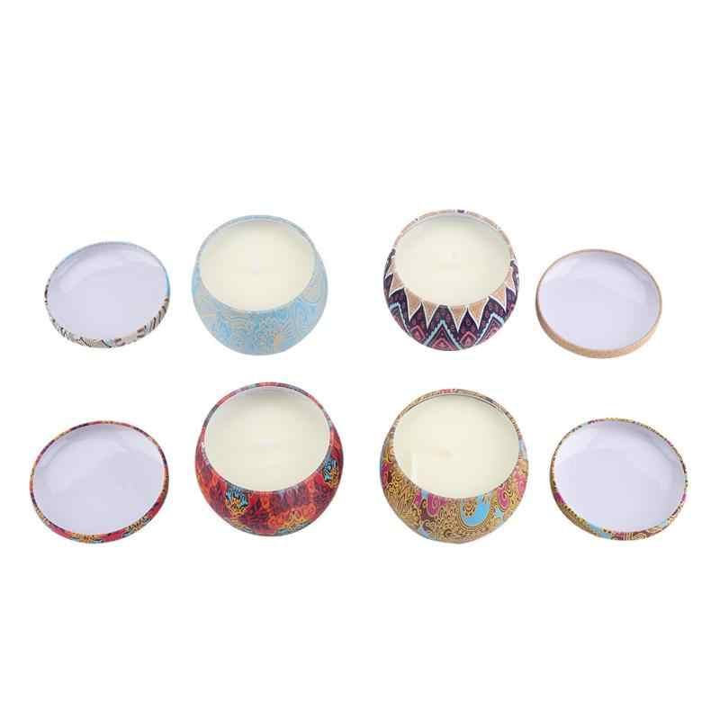 4pcs/Set Eco-Friendly Natural Soy Wax Portable Travel Tin Scented Candle for Stress Relief