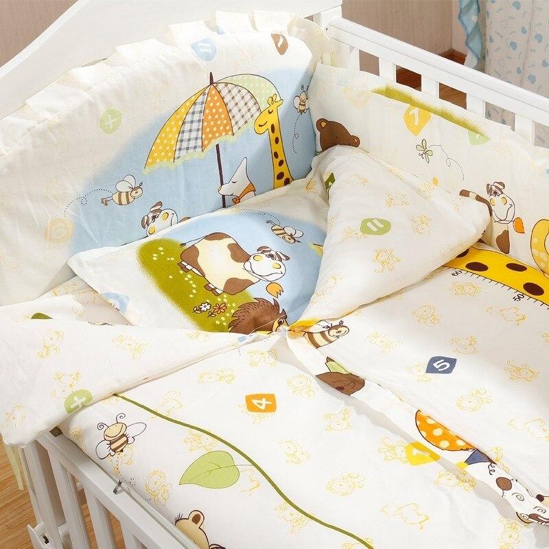 5 шт. натуральный хлопок детское постельное белье Комплект для бампера мягкий съемным моющимся коляска для новорожденных Детское постельное белье детская кроватка бампер детская комната с декором на утолщенной