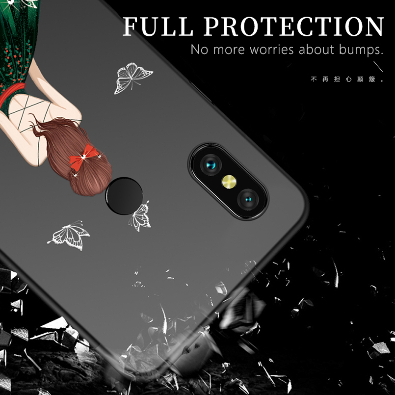 Luxury Case For Xiaomi Redmi Note 6 Pro Silicone Case Cover Girl Dress Bumper For Xiaomi Redmi 4x Note 4x Note 7 5 6 Funda Coque in Fitted Cases from Cellphones Telecommunications