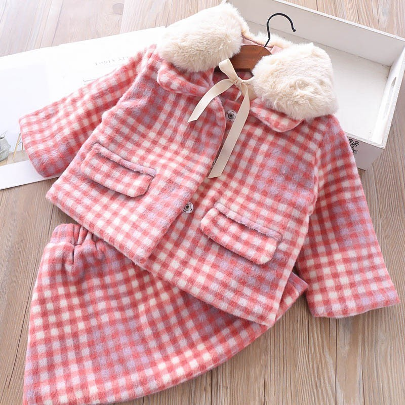 spring girl winter dress long sleeve pink plaid fur collar girl clothes sets toddler baby girl