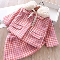 spring girl winter dress long sleeve pink plaid fur collar girl clothes sets toddler baby girl dress kids clothes birthday