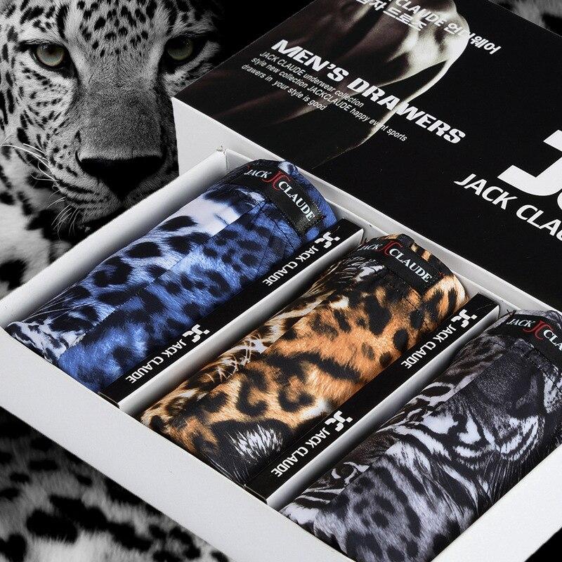 Underwear Boxer Tiger-Pattern Leopard Waist-Shorts Ice-Silk Sexy Fashion New Male 3pcs