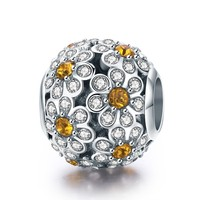 New Genuine 925 Sterling Silver Stackable Daisy Flower Clear CZ Charm Beads fit Bracelet Necklaces DIY Jewelry BSC013