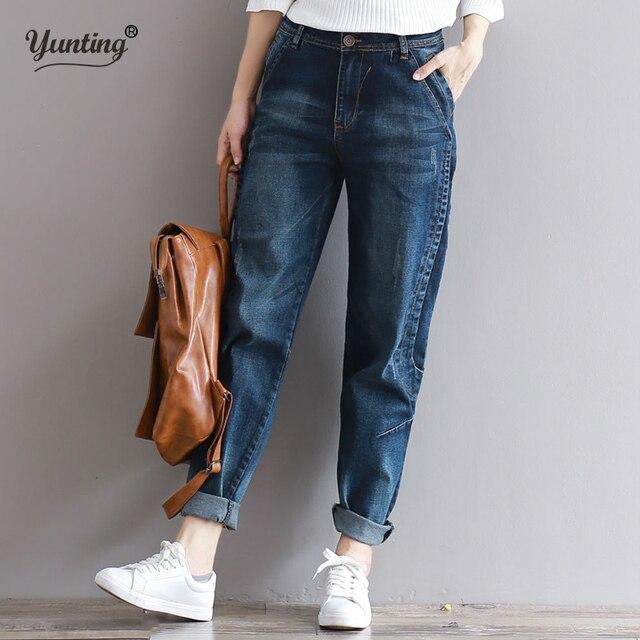 be2408d14f7 2019 джинсы-бойфренды шаровары Для женщин брюки Повседневное плюс Размеры  свободный крой Винтаж джинсовые штаны