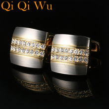 2017 Brand Luxury French Shirt Cufflinks For Crystal Square Mens Cufflink Wedding Jewelry High Quality Free Shipping