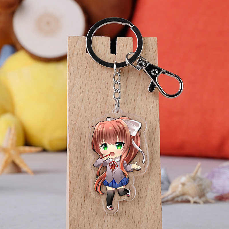 Anime Doki edebiyat anahtarlık karikatür Sayori Yuri Natsuki Monika akrilik araba anahtarlık zinciri kolye anahtarlık takı hediye