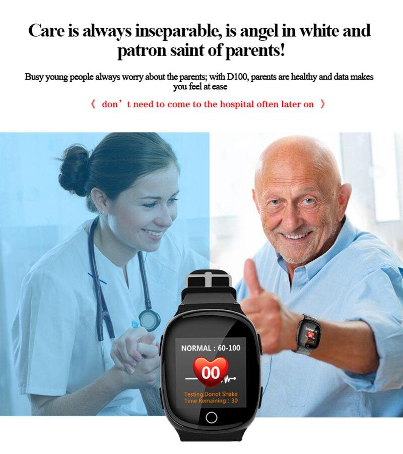 D100 montre intelligente personnes âgées moniteur de fréquence cardiaque SOS fonction d'alarme de chute écran tactile GPS LBS WIFI positionnement pour téléphone
