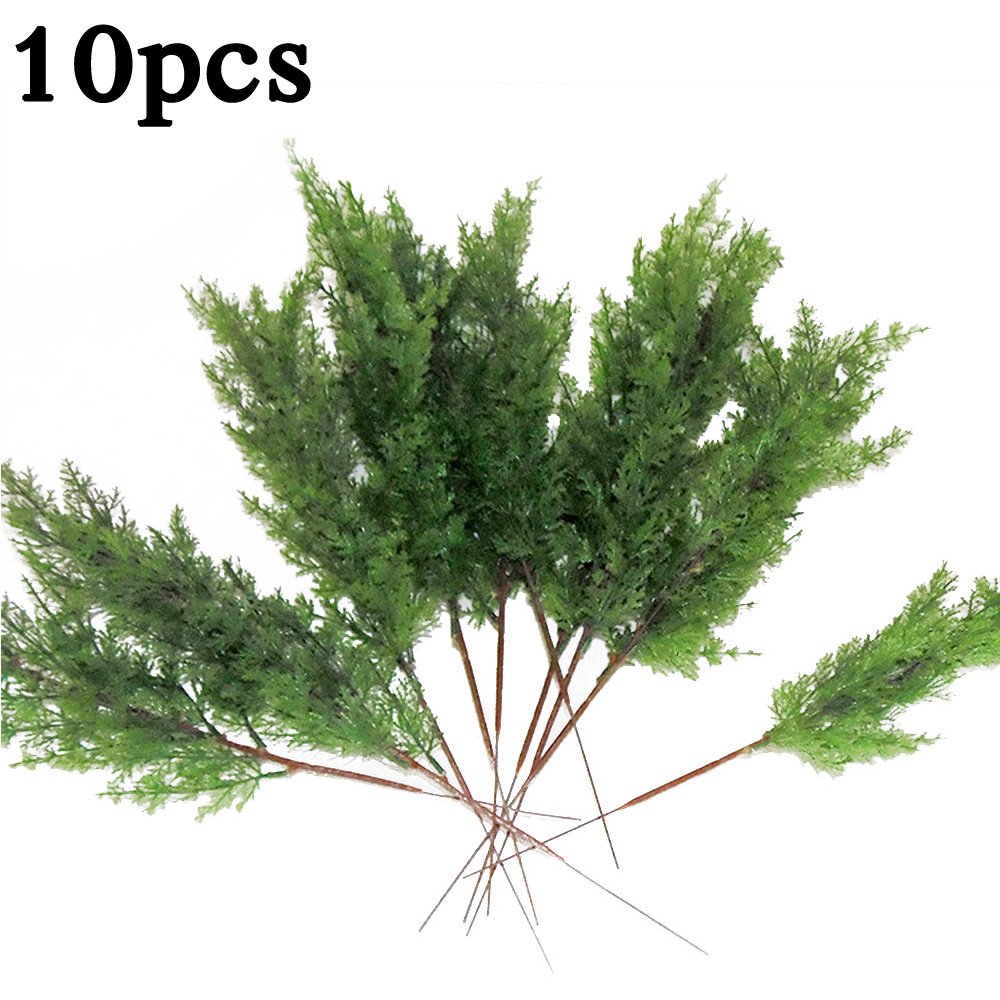 10x Artificial Leaves Branch Pine Cypress Leaves Branches Simulation Home Micro Landscape Decor