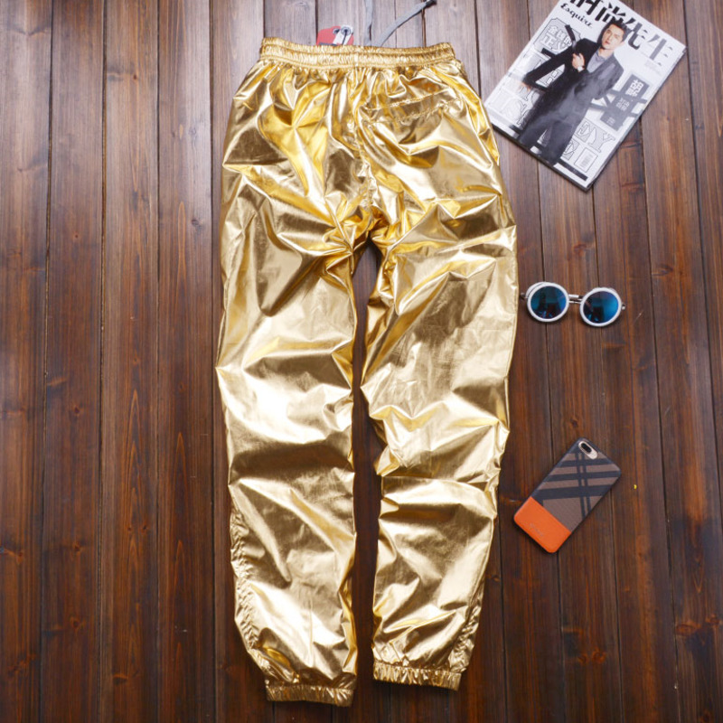 Plus Size 8XL Spring Women Loose Silver Harem Pants Female Casual Shiny Jogger Sweatpants Women Motorcycle Metallic Trousers