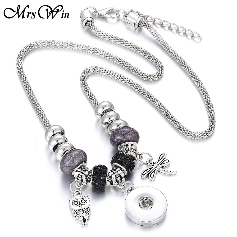 New Snap Button Necklace for Women DIY Owl Dragonfly Charms Handmade Beaded Snake Chain Snap Pendant Necklace Christmas Gifts