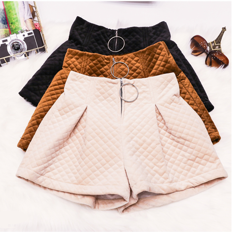 Fashion Women's Autumn Winter high Waist   Shorts   Thick Cotton Velevt Basic Casual Wide Leg   Short   Femme Outerwear Boots   Shorts