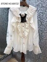 Tops Fashion Blouse Shirt 2019 Spring Summer Silk Cotton Blouse Women Appliques Flower Lace Patchwork Long Sleeve Ruffles Shirt