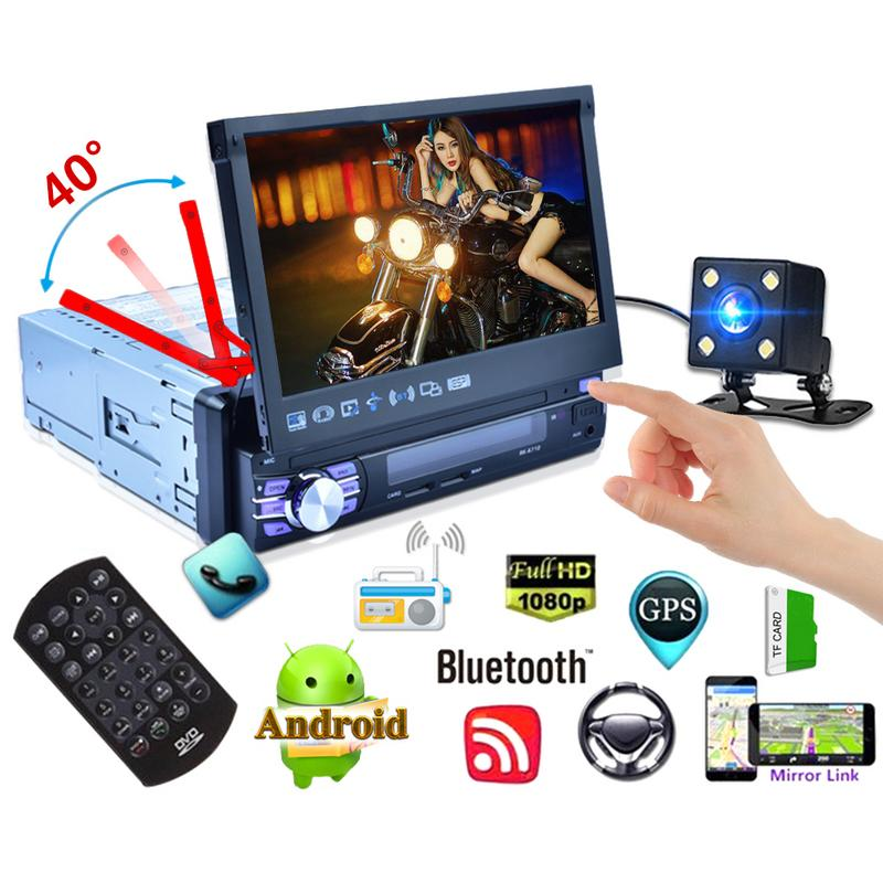 1 Din Car Radio Android 7 Inch Car DVD Player Stereo Telescopic Screen Car MP5 Quad core System GPS Navigation WIFI Player