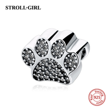 Fit pandora Bracelets silver 925 Original Dog footprints With Clear CZ Stone Pandora Charms Authentic Jewelry for Mothers Gifts