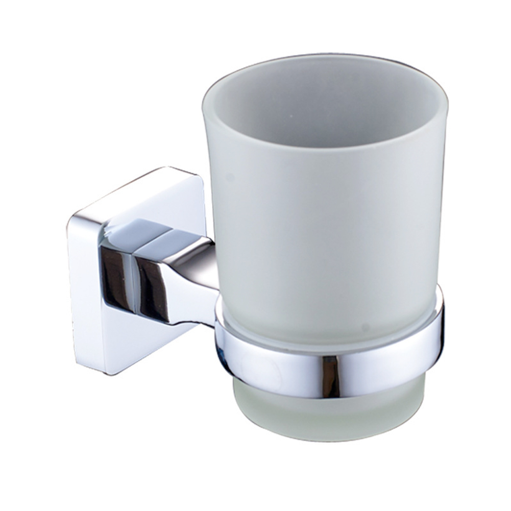 Hotel Organizer Round Glass Cup Home Toothbrush Holder Wall Mounted Accessories Toilet Stainless Steel Square Bathroom cup