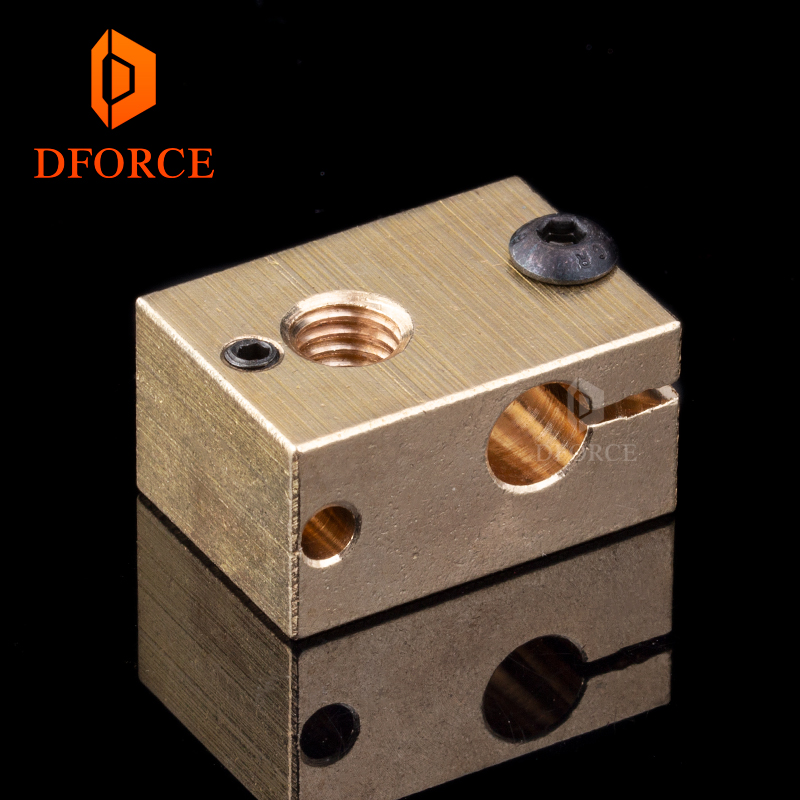 DFORCE 1PC copper brass heater block for E3D copper hotend for 3D printer high temperature for Hardened Steel V6 NozzlesDFORCE 1PC copper brass heater block for E3D copper hotend for 3D printer high temperature for Hardened Steel V6 Nozzles