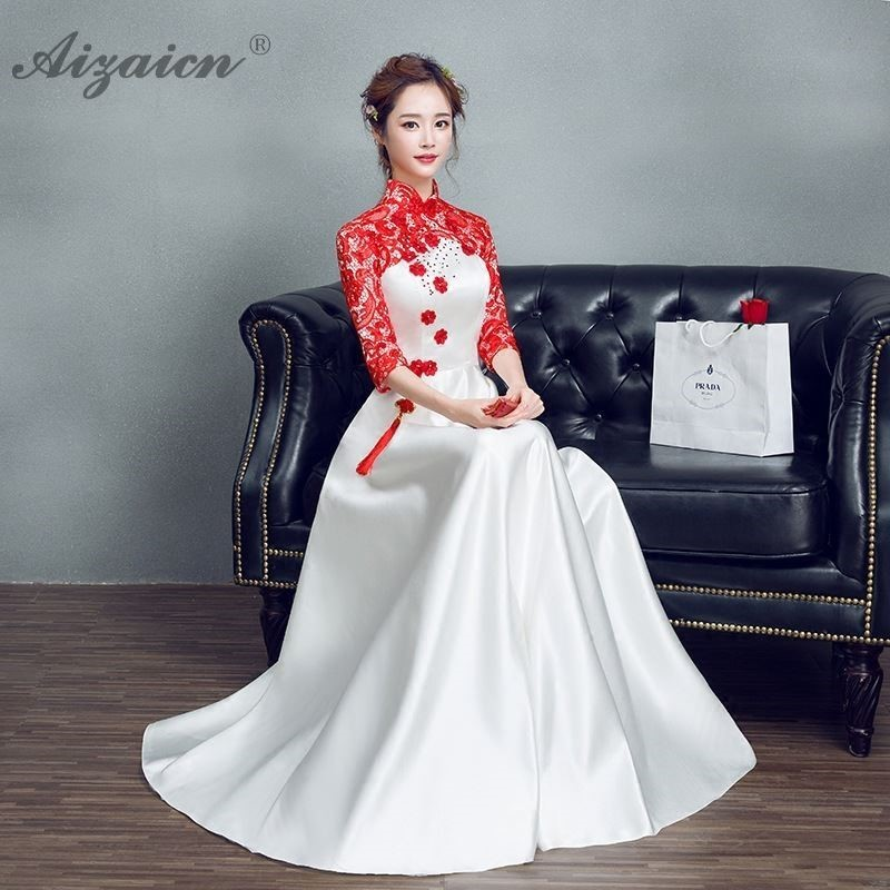 White Embroidery Satin Chinese Cheongsam Dress Women Long Qipao Dresses Casual Oriental Style Evening Gown Robe Chinoise Choir