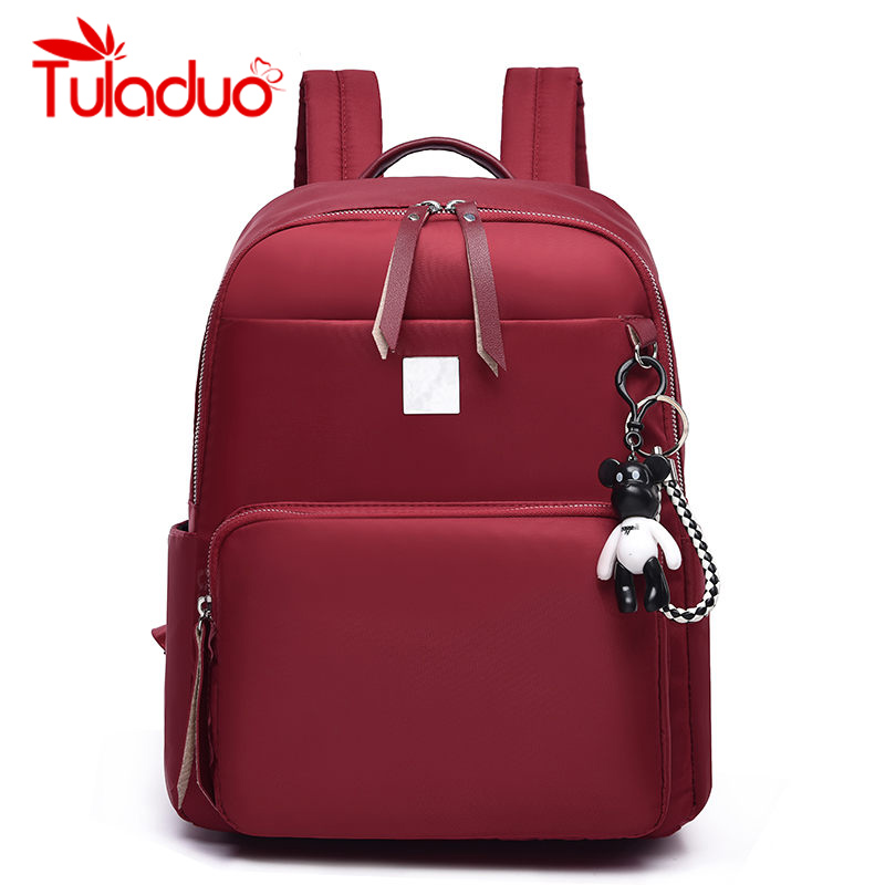 TULADUO New Design Fashion Female Backpack Preppy Style Women Backpack High Quality Oxford Shoulder Bags Bear Pendant Lady Tote