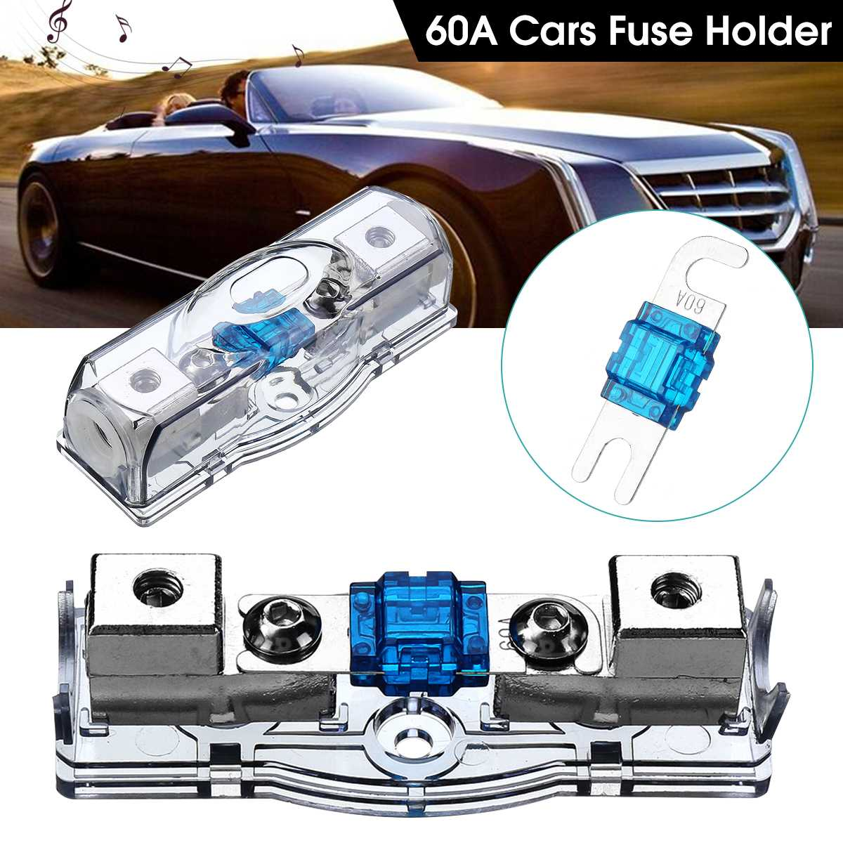 car amplifier fuse holder box for 12v car motorcycles with voltage display  auto replacement parts stereo amplifier fuse adapter