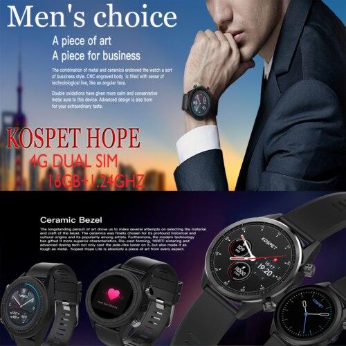Mode haut de gamme Bluetooth sans fil GPS + 16G écran tactile 1.25 GHZ Kospet espoir intelligent étanche Sport montre multifonction