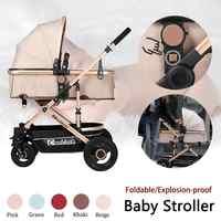Poussette bébé 2 en 1 poussette allongée ou amortissante pliante poids léger deux faces enfant quatre saisons Style mode haute-paysage