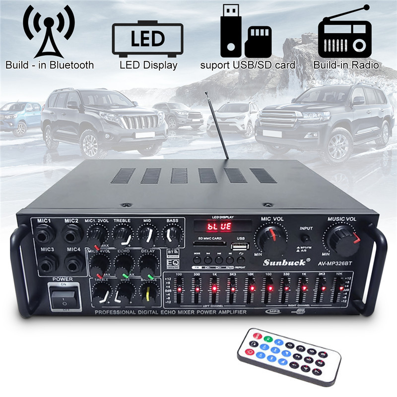 2000W EQ Bluetooth Stereo Amplifier 4 Ohm 2CH USB 64GB Disk/SD Card Car Home 220V 110V Home Theater Amplifiers Home Amplifiers