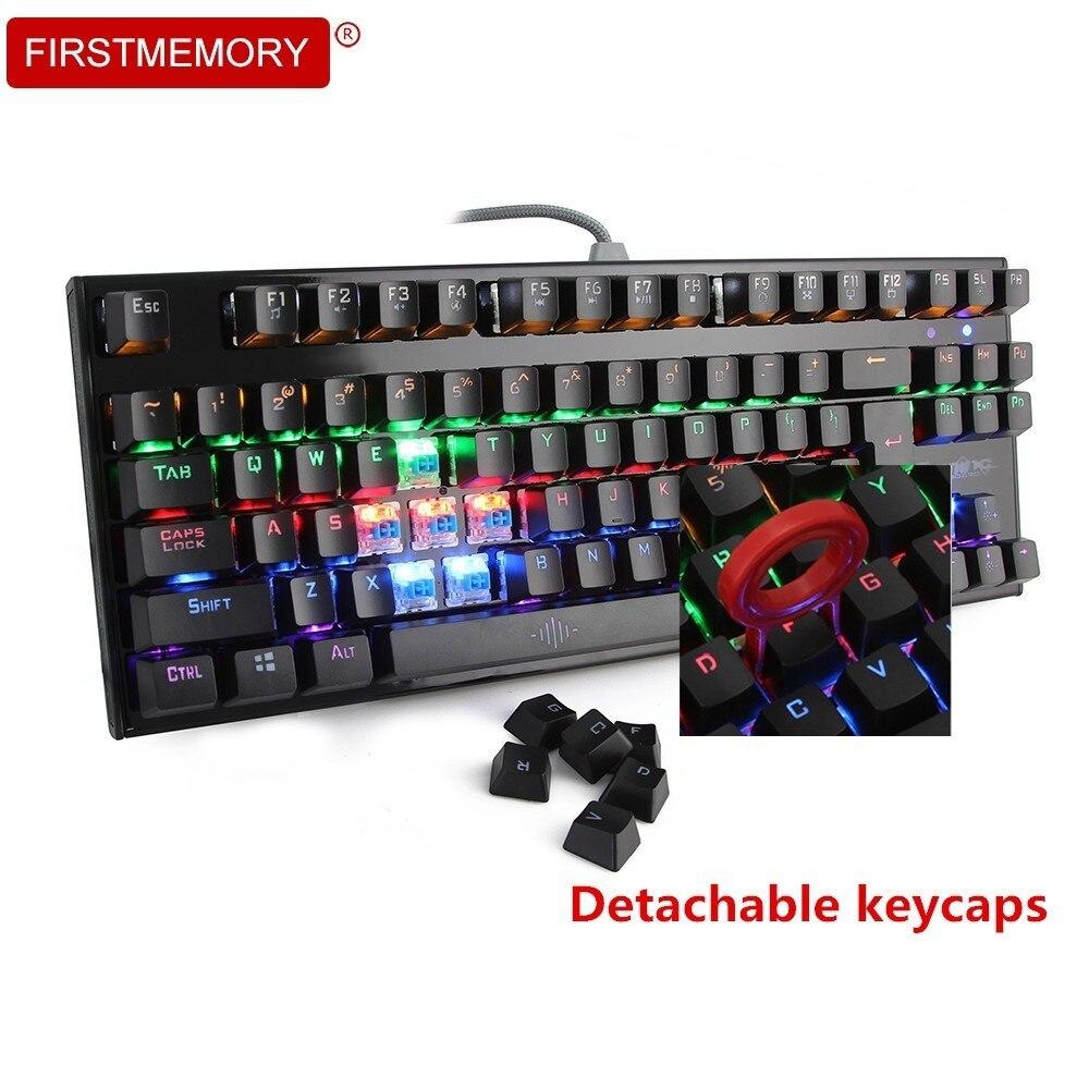 Clavier filaire USB mécanique de jeu commutateur bleu rouge 87 touches RGB Mix claviers de jeu de lumière LED rétro-éclairé personnalisé pour PC Gamer PUGB