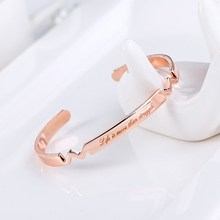Personalized Rose Gold Plated Bracelet Heartbeat Symbol Metal Bangle Love Knot Open Custom Engraved Name Initials Women Jewelry