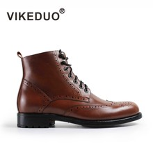 VIKEDUO Autumn Winter Ankle Boots For Men Genuine Cow Skin Lace-up Flat Leather Boots Men Handmade Casual Brogue Shoes(China)
